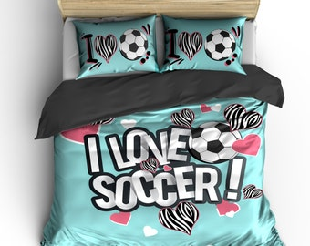 Great I Heart Zebra Soccer Bedding, Lt Aqua Or Any Color, Personalized With Your  Name