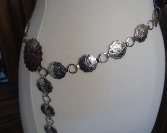 "Vintage Southwestern Style Nickel Silver Concho Belt, Maximum Length 36"", Adjustable"