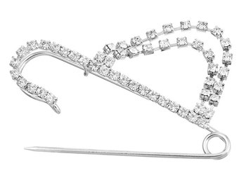 5PC Dull Silver Tone Brooch Pin With Tassel Rhinestone 6.5cmx2cm