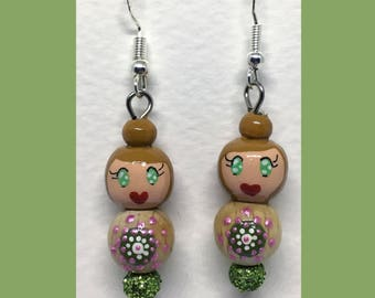Earrings Rondouille Art doll green glitter