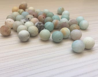 Natural frosted Amazonite beads 8 mm
