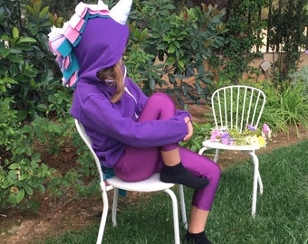 Purple Unicorn Hoodie, Girl Hoodie, Little Pony Hoodie, Unicorn Costume, Girl Unicorn Party, Girls Unicorn Outfit, Unicorn Baby Shower