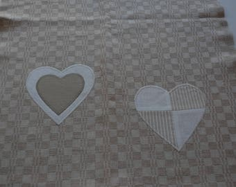 decorated with beige linen Tea towel