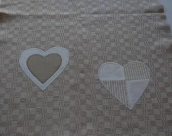 decorated with beige linen Tea towel
