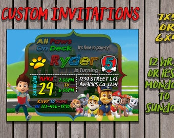 Paw patrol custom invitation 12 hrs or less, monday to sunday