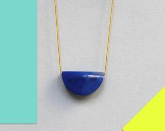 Minimal pendant necklace, long necklace, modern necklace pendant, minimalist jewelry, blue moon pendant necklace, gold cord necklace