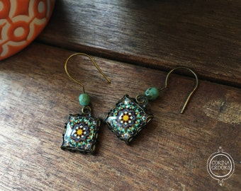 Geometric earrings, green dangle earrings, Islamic jewelry, Bohemian earrings, Islamic tile design, Handmade, Folk art, Middle Eastern