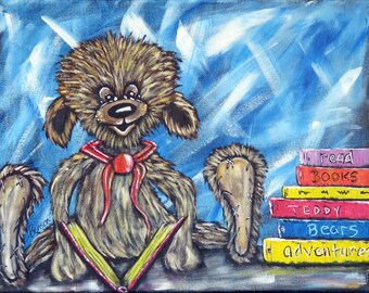 Teddy Bear Painting, Original Acrylic Canvas Painting, Book lovers wall art, Nursery Wall Decor, Handpainted Teddy Bear Reading a Book gift