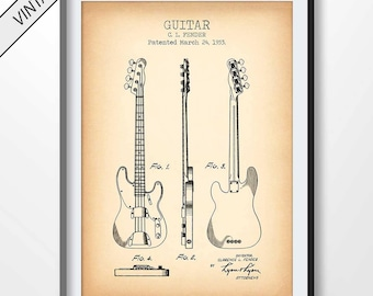 Fender blueprint etsy guitar patent print guitar poster guitar blueprint guitar printable guitar decoration malvernweather Image collections