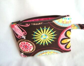 Zipper Purse, Coin Pouch Purse Makeup Pouch  with Detachable Handle Carnival Bloom