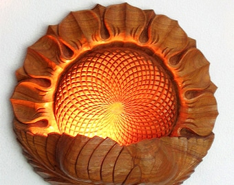 Night lamp Sunflower, To be ordered: Wood carving, Wall hanging, room decor, lighting, floral motiff
