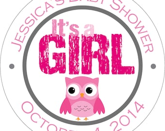 Personalized Glossy It's a Girl (or boy) Baby Shower Stickers - many designs to choose from - can change colors, wording, etc. BR-009