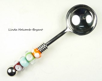 Condiment Spoon with Handmade Lampwork Glass Beads of Orange Red and Aqua