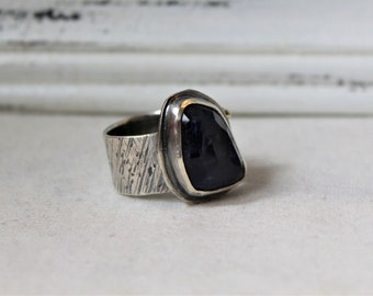 Sodalite and oxidized Sterling Silver - Size 8 - READY TO SHIP - Gemstone blue handmade jewelry