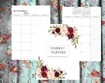 Student Planner Set - Printable University/College Student Organize Student Planner Bundle 2017-2018 Student Planner, Printable Inserts