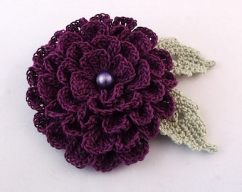 purple flower brooch,purple crochet brooch,  handmade crochet brooch, purple brooch, pin, handmade ,accessory ,corsage, wedding accessories.