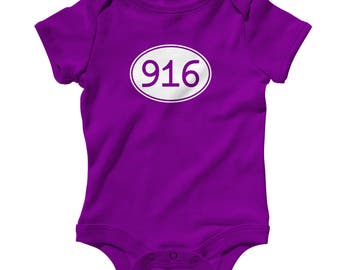 Baby One Piece - Area Code 916 Infant Romper - NB 6m 12m 18m 24m - Sacramento Baby, Elk Grove Baby, Roseville Baby, Folsom Baby, Rocklin