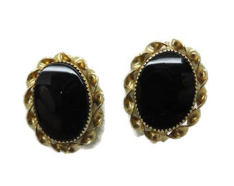 Earrings, Black Onyx Earrings, Gold Filled Earrings Vintage 1/20 12K GF Faux Onyx Screw Back Earrings, Gift for Her