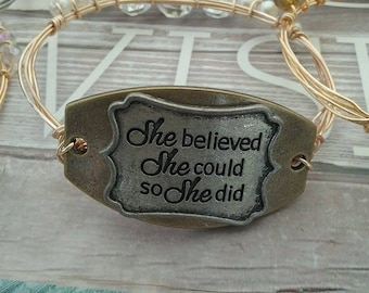 She Believed She Could Bourbon and Boweties inspired Bangle