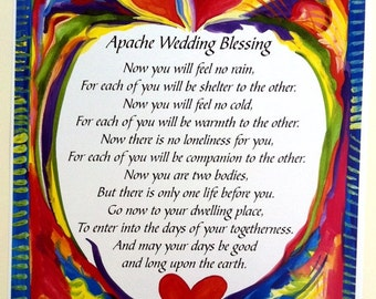 APACHE WEDDING BLESSING 8x11 Inspirational Quote Bride Groom Family Home Decor Anniversary Love Sayings Heartful Art by Raphaella Vaisseau