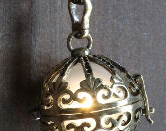 WARM WHITE Glowing Pendant Necklace Ornate orb Locket Antique Bronze, Cosmic glow