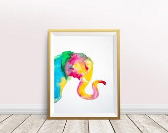Elephant Watercolor,elephant print,elephant painting,elephant poster,nursery decor,elephant wall art,instant download,Colorful Elephant,gift