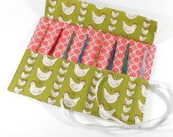 Crochet Hook / DPN Organizer - Hens - Crochet Hook Organizer Crochet Hook Case Crochet Organizer Organiser Green