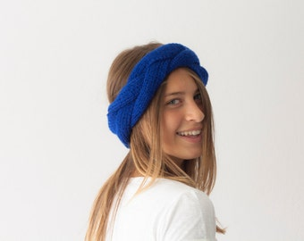 Sales Knit cable headband knit ear warmer in Royal blue head wrap winter head accessories