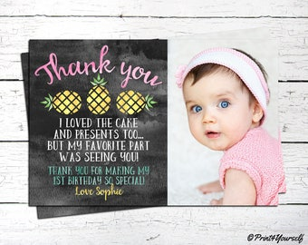 Pineapple Thank You Card / Personalized Printable 1st Birthday Pineapple Thank You Card / Pineapple Thank you note / 1st birthday Thank You