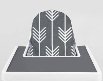 Charcoal Grey Arrows // IKEA Antilop Highchair Cover // High Chair Cover for the KLÄMMIG or PYTTIG Cushion // Pillow Slipcover