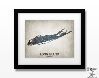 Long Island NY Map Art - Choose your City & Color - Original Custom Map Art Print Available in Multiple Size and Color Options