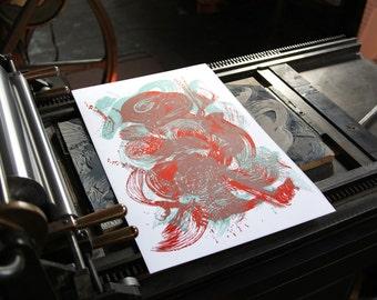 BRUSHWORK VII linocut letterpress print