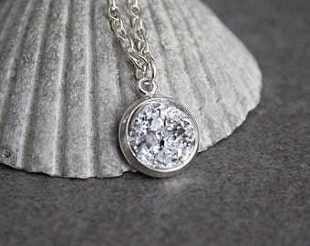 Silver Druzy Necklace, Silver Necklace, Silver Pendant Necklace, Faux Druzy Necklace, Bridesmaid Necklace, Presents for Mom, Gift for Her