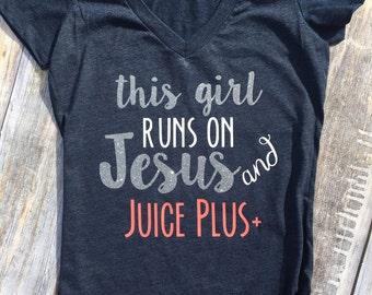 Jesus and Juice Plus Ladies Fitted Tee