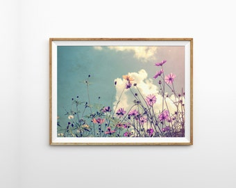 Flower field print - Vintage art print - floral photography print - Modern wall art - Gallery wall print - Flower print - Printable flower