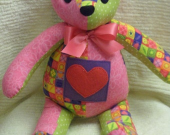 Handcrafted Skull and Pink Heart Teddy Bear
