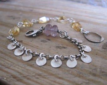 Citrine Nugget, Moss Amethyst, Sterling Silver Bracelet, Fine Silver Disc Fringe,  Chain Bracelet, Free Shipping, Gift for Her