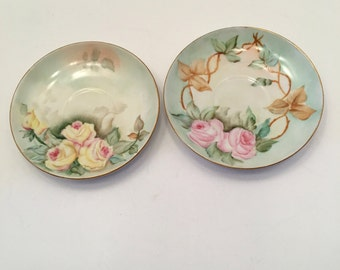 Vintage Hand Painted Plates ~ Set of Two ~ Pink & Yellow Roses  ~ Marion Leishear CR ~ Bavaria ~ Saucer ~ Small Plate