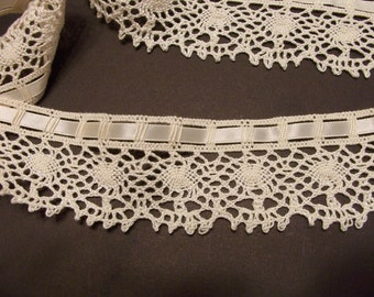Cream Cotton Cluny Lace with Satin Ribbon Insert--10 yards