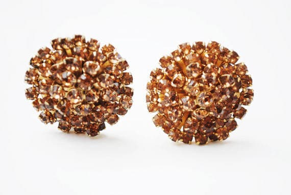 Weiss Rhinestone Earrings - Brown Orange Crystal - Gold tone - domed Round - clip on earrings