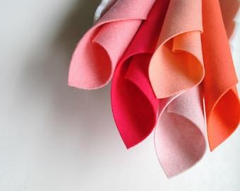 Wool Felt Set, Shades of Coral Pink, Pure Merino Wool, Blush, Hot Pink, Carnation, Bright Pink, 1mm thick felt, Doll Making, Felt Flowers