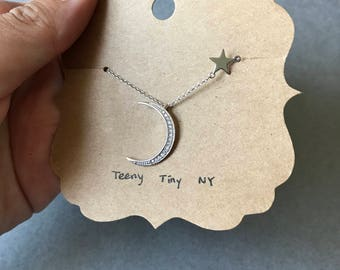 Silver Crescent Moon (CZ)  and Star Necklace - Sterling Silver [SN1013]