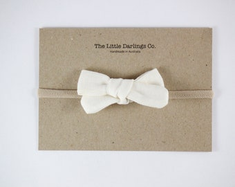 Hand Tied Hair Bow 100% Linen Small Schoolgirl in Cream // Clip or Band