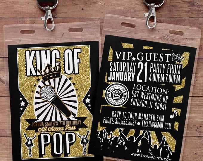King of pop, Hip Hop, VIP PASS, backstage pass, Vip invitation, birthday invitation, pop star, lanyard, Rock Star birthday, Michael Jackson