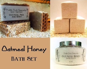 Oatmeal Honey Bath Set, Goat Milk Soap, Bath Salts and 4 Bath Fizzies for Healthy Skin. Ground Oats Throughout