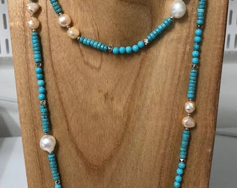 Turquoise and Freshwater Pearl Necklace