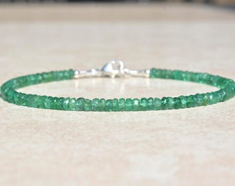 Zambian Emerald Gemstone Bracelet, May Birthstone Bracelet, Natural Emeralds, Gemstone Beaded Bracelet, Gift for Mom Wife, Handmade Jewelry
