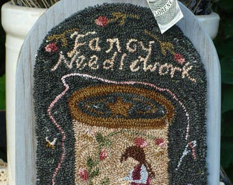 """Pattern: Punch Needle Embroidery Pattern """"Fancy Needlework""""  by Vintage Heart Rug Design (Yvonne Buus)"""