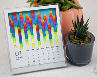 Slime Dripping 2018 Calendar, Calendar with Stand, Desktop Calendar, Abstract, Unique, Modern Calendar cd calendar melting, Valentine's gift
