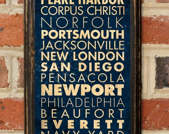 US Navy Midshipmen Points of Interest Ports Wall Art Sign Plaque Gift Present Home Decor Vintage Style USNA Sailor Naval Academy Antique